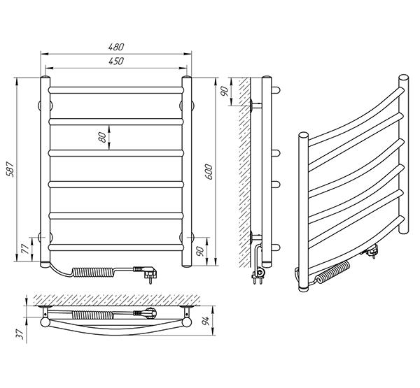 Схема - Полотенцесушитель Laris Микс П6 450 х 600 Э (подкл. слева)