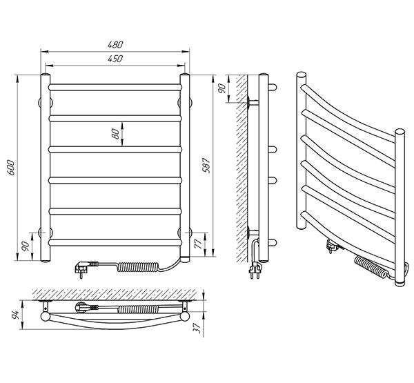 Схема - Полотенцесушитель Laris Микс П6 450 х 600 Э (подкл. справа)