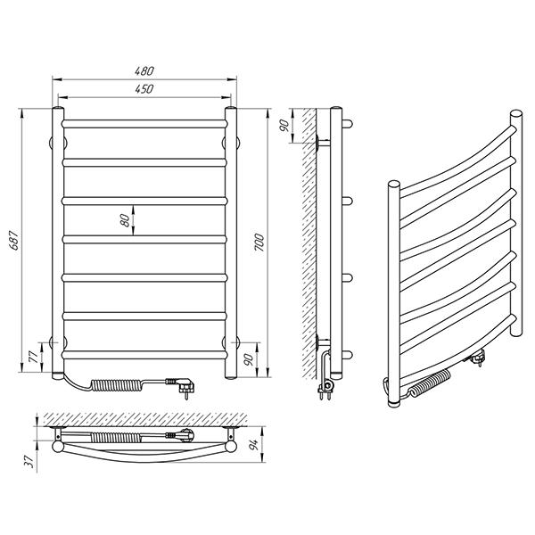 Схема - Полотенцесушитель Laris Микс П7 450 х 700 Э (подкл. слева)