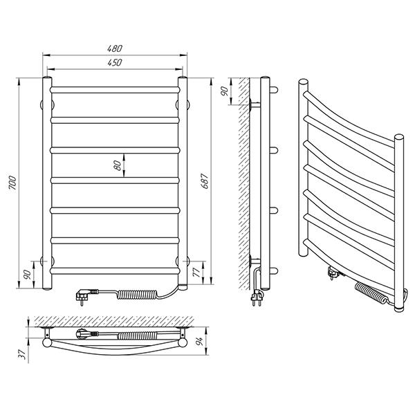 Схема - Полотенцесушитель Laris Микс П7 450 х 700 Э (подкл. справа)
