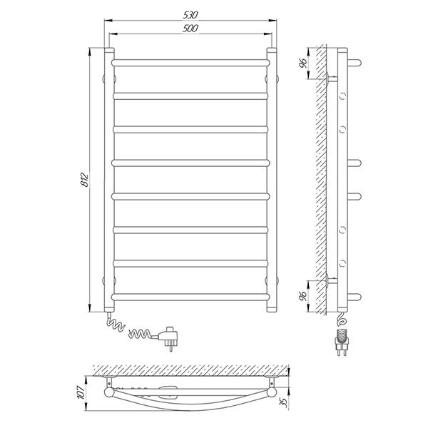 Схема - Полотенцесушитель Laris Микс П8 500 х 800 Э (подкл. слева)