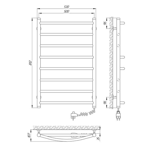 Схема - Рушникосушарка Laris Мікс П8 500 х 800 Е (підкл. справа)