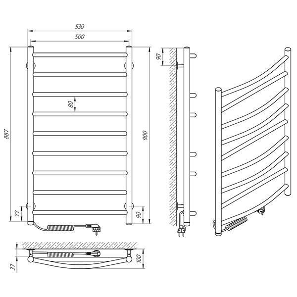 Схема - Рушникосушарка Laris Мікс П9 500 х 900 Е (підкл. зліва)