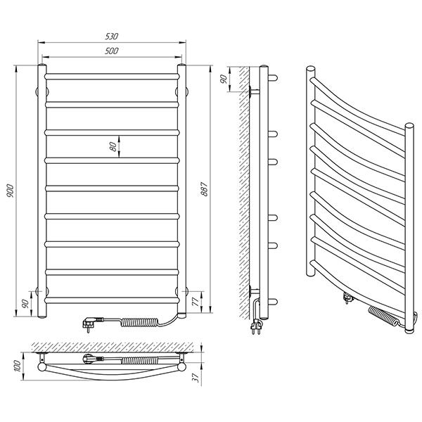Схема - Полотенцесушитель Laris Микс П9 500 х 900 Э (подкл. справа)