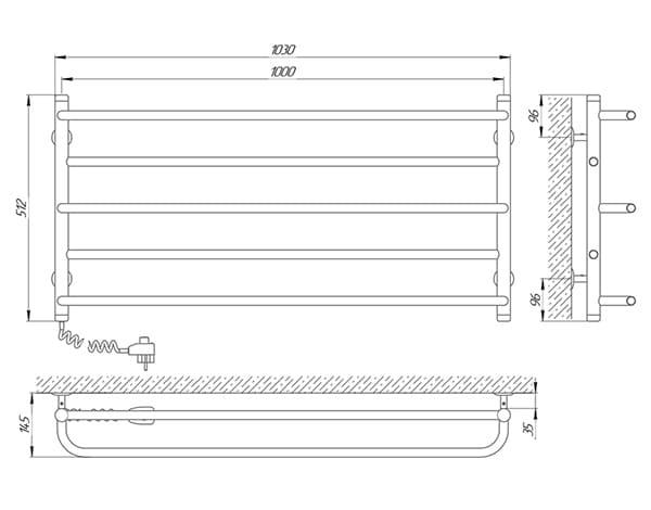 Схема - Полотенцесушитель Laris Практик П5 1000 х 500 Э (подкл. слева)