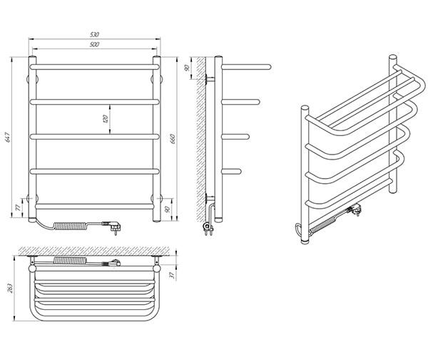 Схема - Рушникосушарка Laris Стандарт П5 500 х 660 з полицею Е (підкл. зліва)