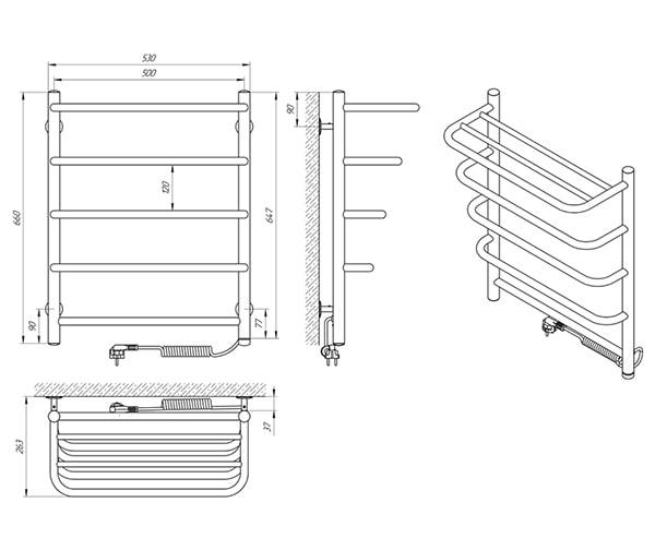 Схема - Полотенцесушитель Laris Стандарт П5 500 х 660 с полкой Э (подкл. справа)