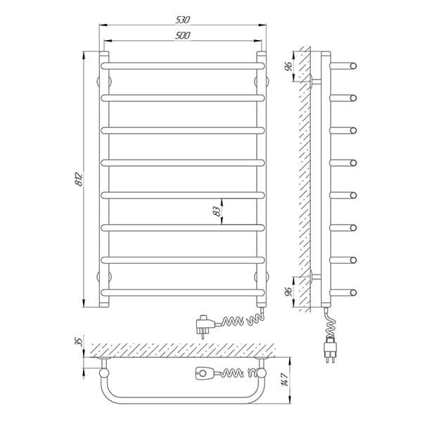 Схема - Полотенцесушитель Laris Стандарт П8 500 х 800 Э (подкл. справа)