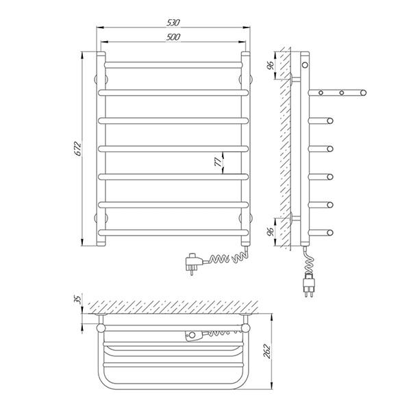 Схема - Рушникосушарка Laris Стандарт П7 500 х 660 з полицею Е (підкл. справа)
