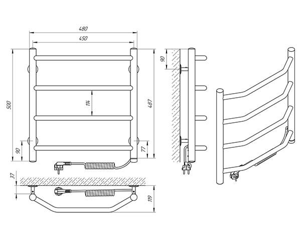 Схеа - Рушникосушарка Laris Вікторія П4 450 х 500 Е (підкл. справа)