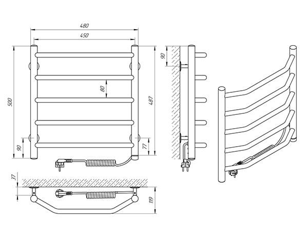 Схема - Рушникосушарка Laris Вікторія П5 450 х 500 Е (підкл. справа)