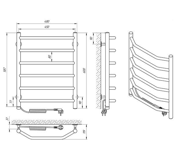 Схема - Рушникосушарка Laris Вікторія П6 450 х 600 Э (підкл. зліва)