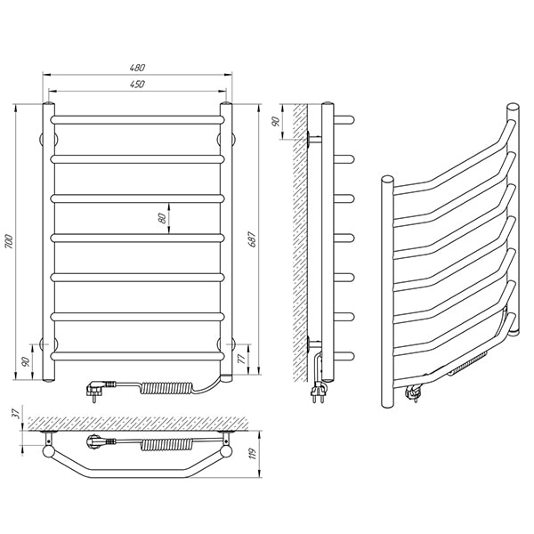 Схема - Полотенцесушитель Laris Виктория П7 450 х 700 Э (подкл. слева)
