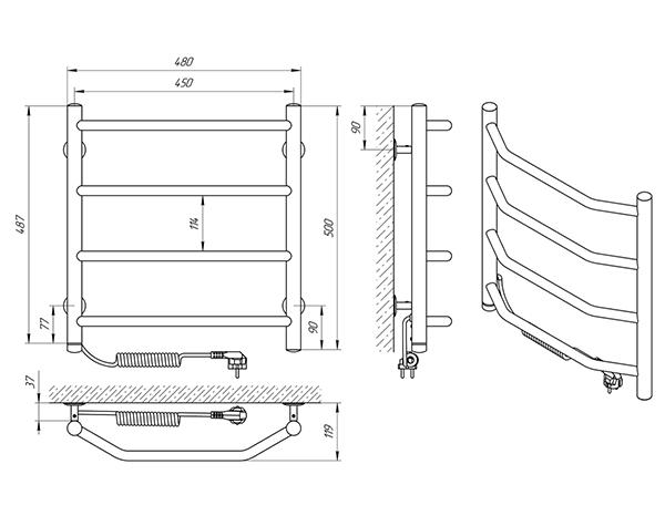 Схема - Полотенцесушитель Laris Виктория П4 450 х 500 Э (подкл. слева)