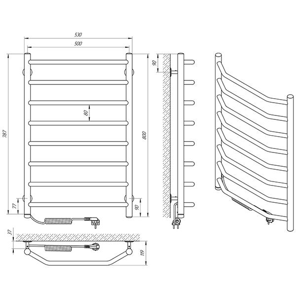 Схема - Рушникосушарка Laris Вікторія П8 500 х 800 Е (підкл. зліва)