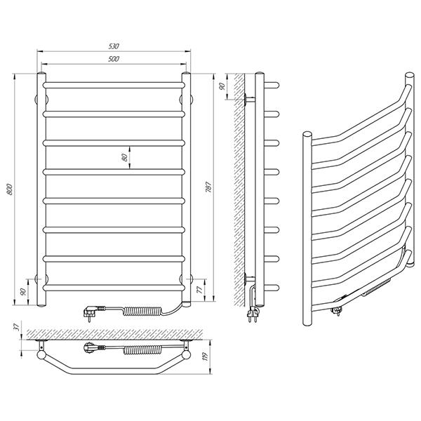 Схема - Полотенцесушитель Laris Виктория П8 500 х 800 Э (подкл. справа)
