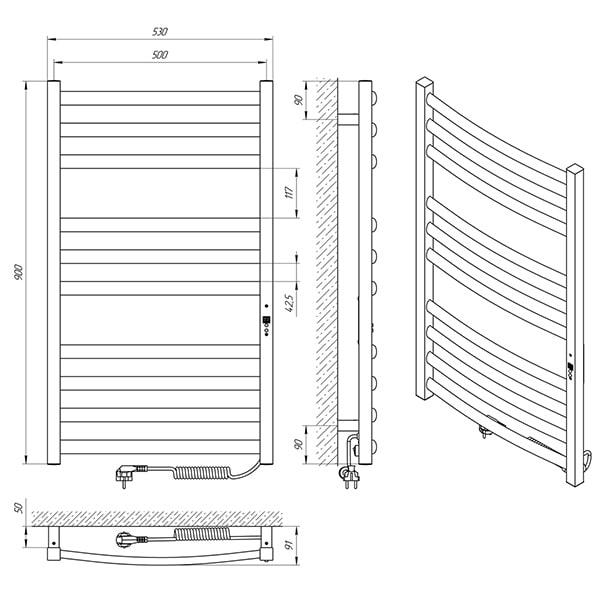 Схема - Рушникосушарка Laris Гранд П10 500 х 900 Е (підкл. справа)