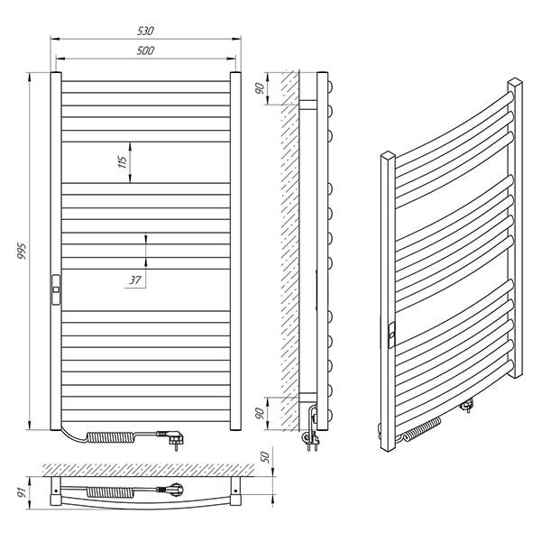 Схема - Полотенцесушитель Laris Гранд П12 500 х 1000 Э (подкл. слева)