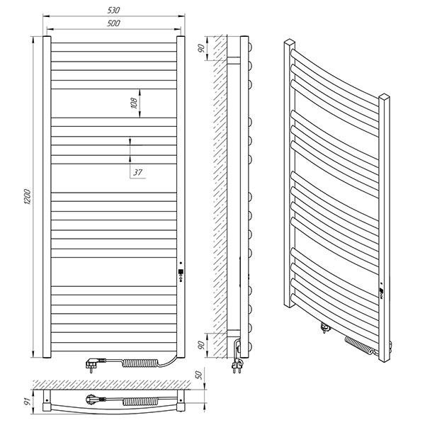 Схема - Полотенцесушитель Laris Гранд П14 500 х 1200 Э (подкл. справа)