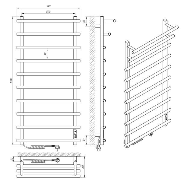 Схема - Рушникосушарка Laris Каскад Преміум П10 500 х 1200 Е (підкл. зліва)