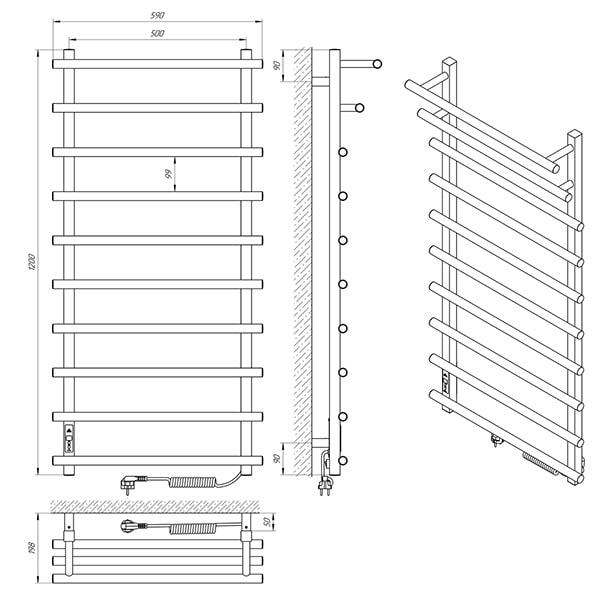 Схема - Рушникосушарка Laris Каскад Преміум П10 500 х 1200 Е (підкл. справа)
