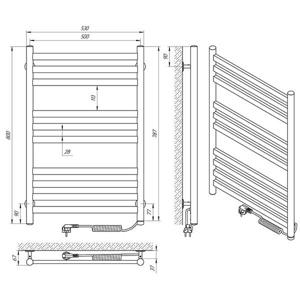 Схема - Рушникосушарка Laris Кватро П10 500 х 800 Е (підкл. справа)