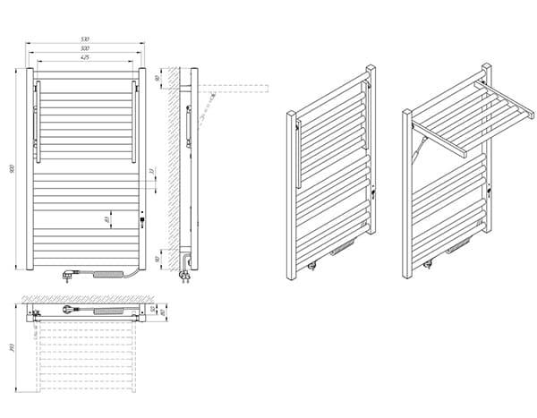 Схема - Полотенцесушитель Laris Сириус П12 500 х 900 Э (подкл. справа)