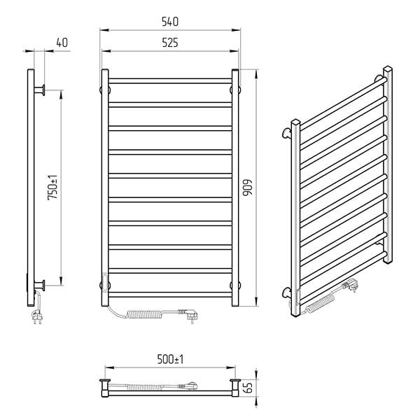 Схема - Электрический полотенцесушитель Laris Зебра Альфа ЧКЧ10 500 х 900 Э (подкл. слева) R3