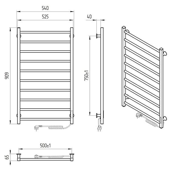 Схема - Електрична рушникосушарка Laris Зебра Альфа ЧФ10 500 х 900 Е (підкл. справа) R3