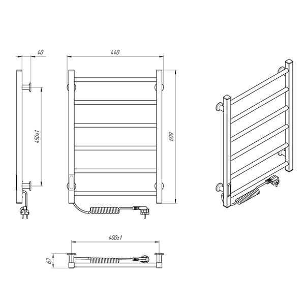 Схема - Электрический полотенцесушитель Laris Зебра Альфа ЧК6 400 х 600 Э (подкл. слева) R3