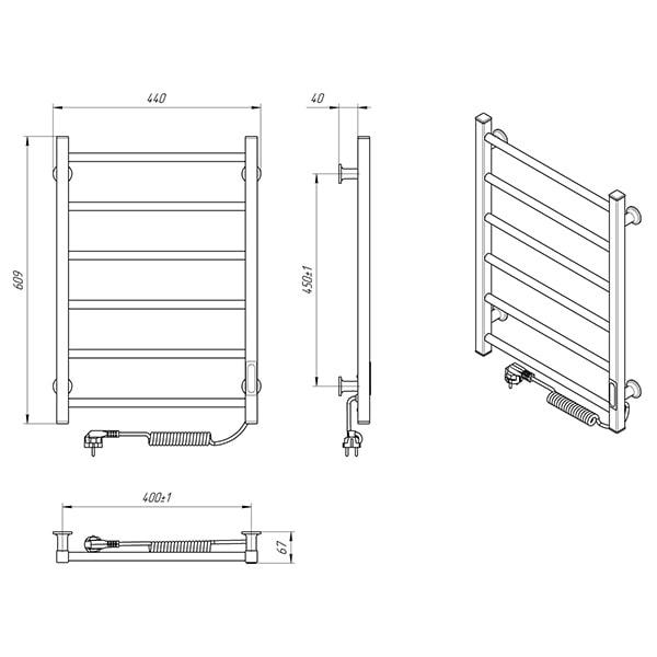 Схема - Электрический полотенцесушитель Laris Зебра Альфа ЧК6 400 х 600 Э (подкл. справа) R3