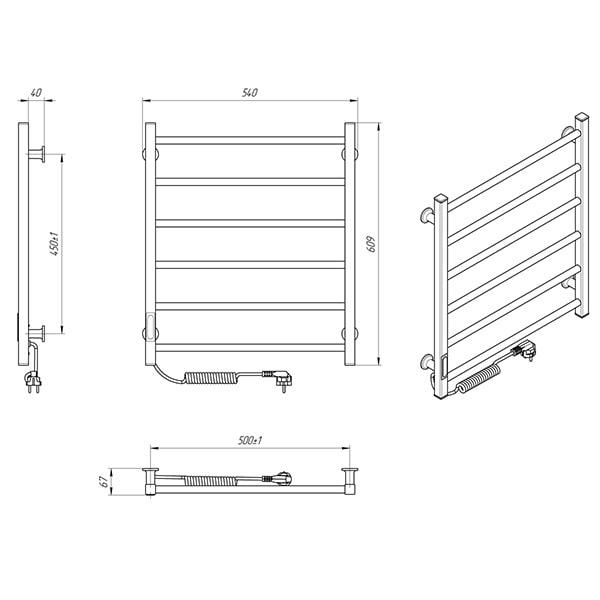 Схема - Електрична рушникосушарка Laris Зебра Альфа ЧФ6 500 х 600 Е (підкл. зліва) R3