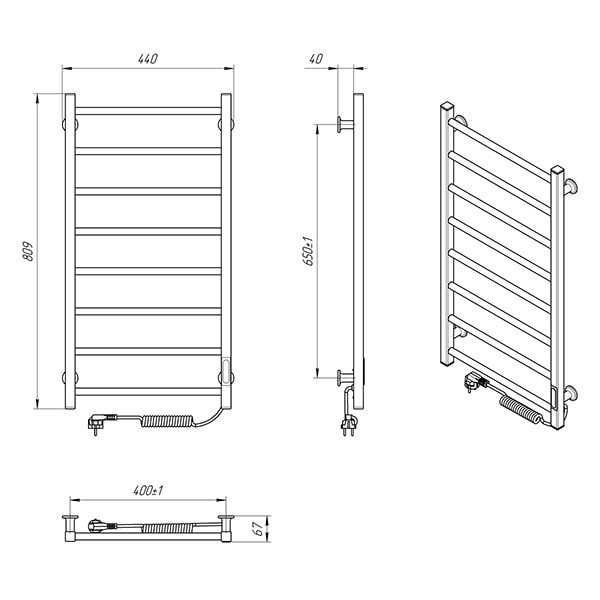 Схема - Електрична рушникосушарка Laris Зебра Альфа ЧФ8 400 х 800 Е (підкл. справа) R3
