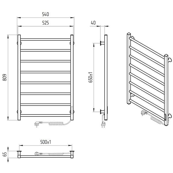 Схема - Електрична рушникосушарка Laris Зебра Альфа ЧФЧ8 500 х 800 Е (підкл. справа) R3