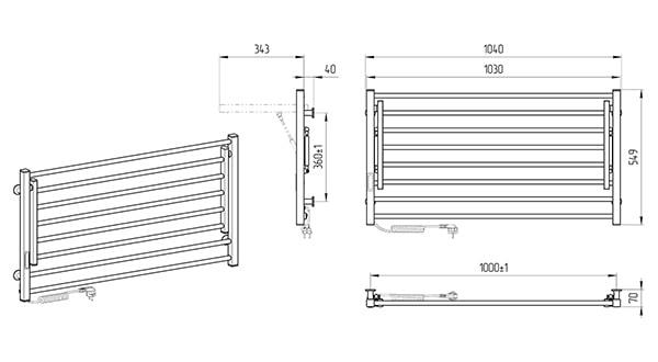 Схема - Электрический полотенцесушитель Laris Зебра Астор ЧК8 1000 х 500 Э (подкл. слева) R3