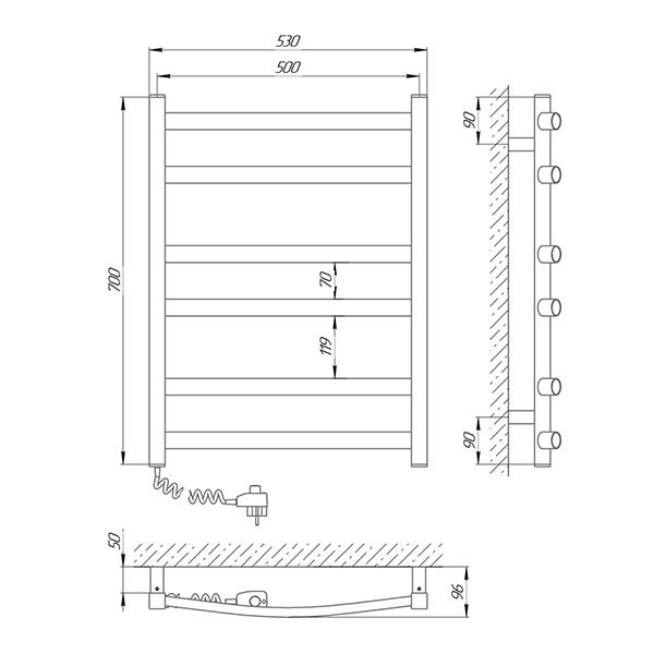 Схема - Рушникосушарка Laris Зебра Атлант ЧФ6 500 х 700 Е (підкл. зліва)