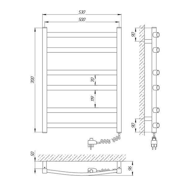 Схема - Рушникосушарка Laris Зебра Атлант ЧФ6 500 х 700 Е (підкл. справа)