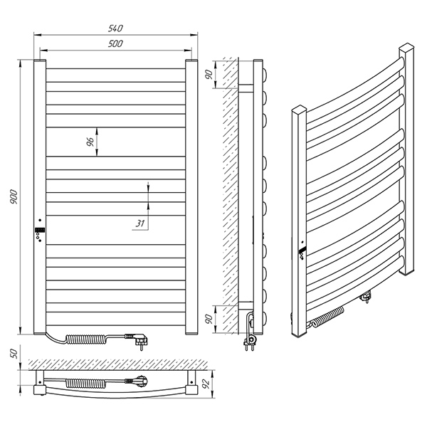 Схема - Полотенцесушитель Laris Зебра Атлант Премиум ЧК10 500 х 900 Э (подкл. слева)
