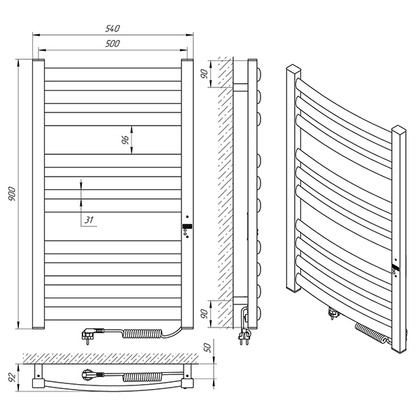 Схема - Рушникосушарка Laris Зебра Атлант Преміум ЧФ10 500 х 900 Е (підкл. справа)