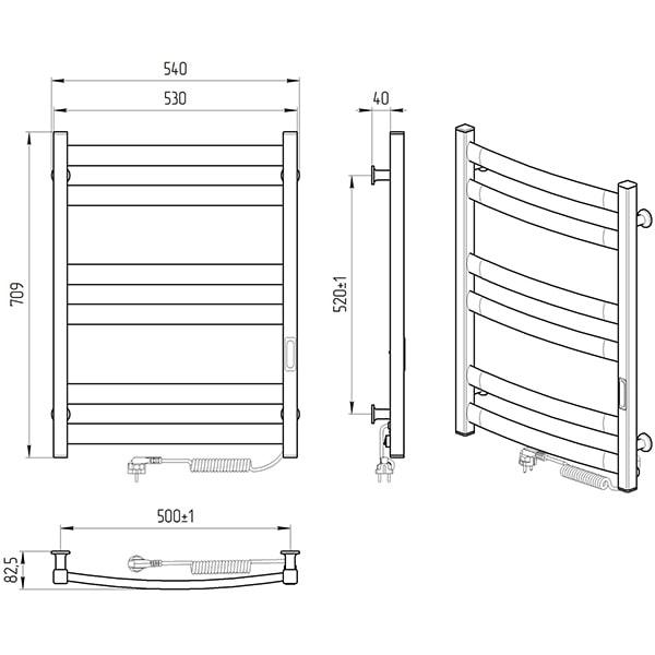 Схема - Полотенцесушитель Laris Зебра Атлант ЧК6 500 х 700 Э (подкл. справа)