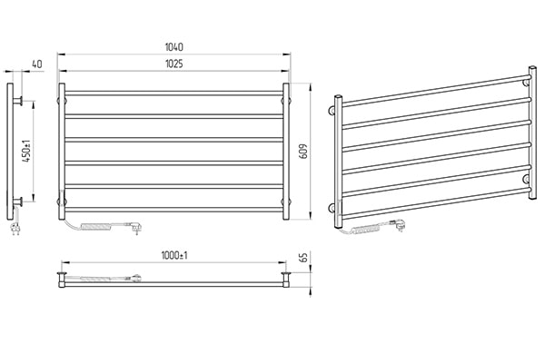 Схема - Електрична рушникосушарка Laris Зебра Горизонт ЧФ6 1000 х 600 Е (підкл. зліва) R3