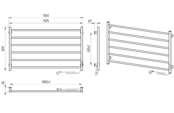 Схема - Електрична рушникосушарка Laris Зебра Горизонт ЧФ6 1000 х 600 Е (підкл. справа) R3
