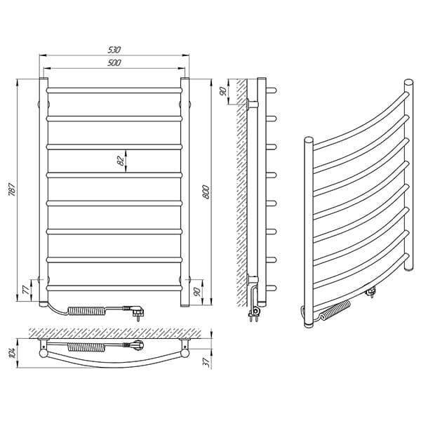 Схема - Рушникосушарка Laris Зебра Класік ЧФ8 500 х 800 Е (підкл. зліва)