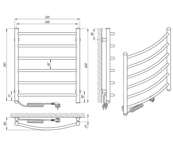 Схема - Полотенцесушитель Laris Зебра Классик ЧК6 500 х 600 Э (подкл. слева)