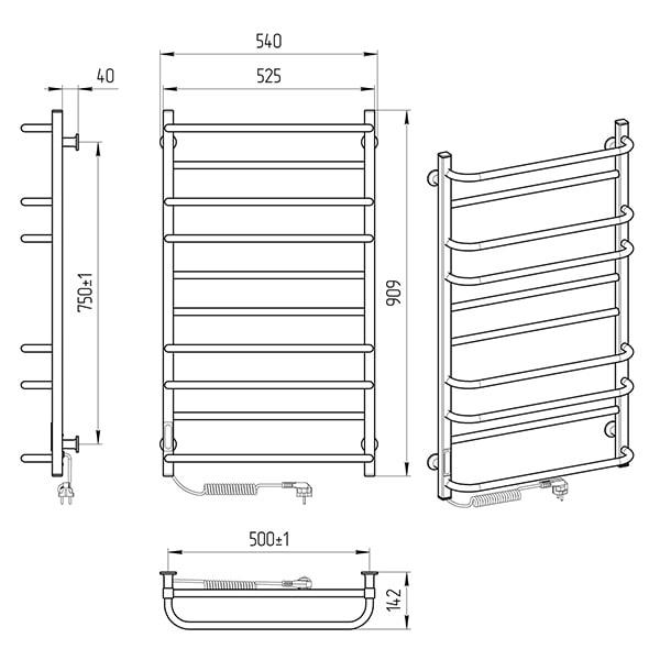 Схема - Електрична рушникосушарка Laris Зебра Комфорт ЧФ10 500 х 900 Е (підкл. зліва) R3