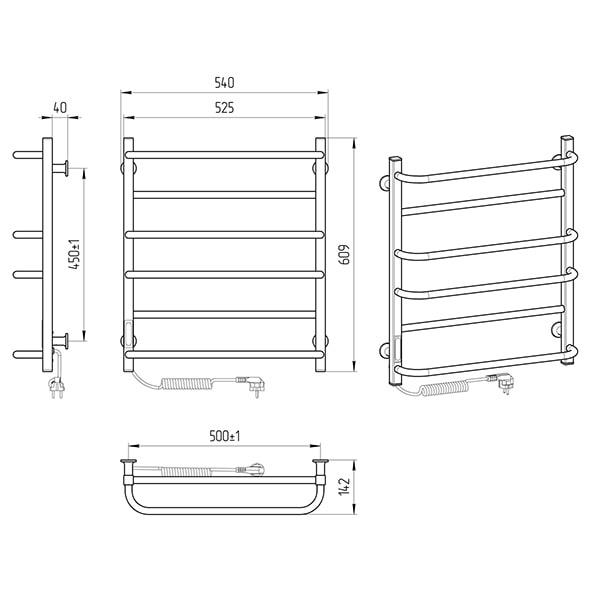 Схема - Електрична рушникосушарка Laris Зебра Комфорт ЧФ6 500 х 600 Е (підкл. зліва) R3