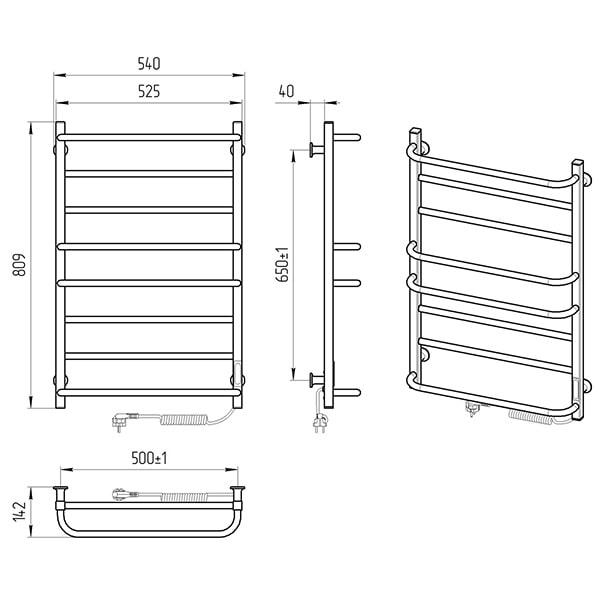 Схема - Электрический полотенцесушитель Laris Зебра Комфорт ЧК8 500 х 800 Э (подкл. справа) R3