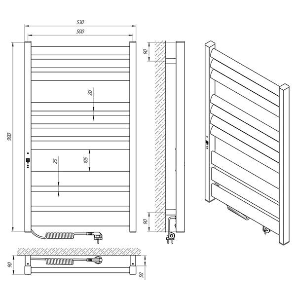 Схема - Рушникосушарка Laris Зебра Лавина ЧФЧ10 500 х 900 Е (підкл. зліва)