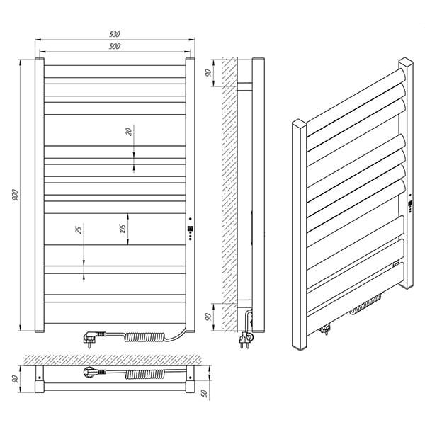 Схема - Рушникосушарка Laris Зебра Лавина ЧФ10 500 х 900 Е (підкл. справа)
