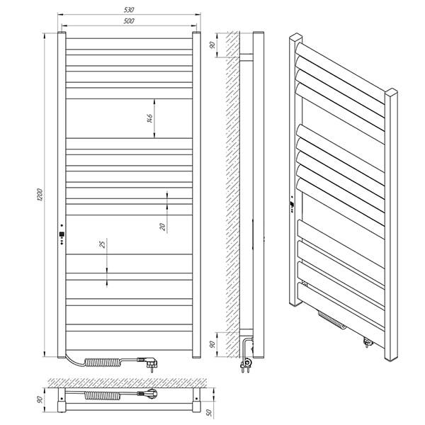 Схема - Рушникосушарка Laris Зебра Лавина ЧК13 500 х 1200 Е (підкл. зліва)